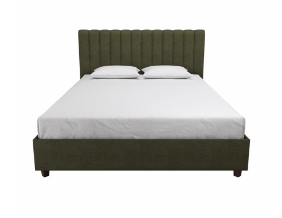 Walmart is stepping up their decor game!!! This bed is the perfect shade of olive green, and would look great with some velvet throw pillows. A steal at only $249 for a Queen.
