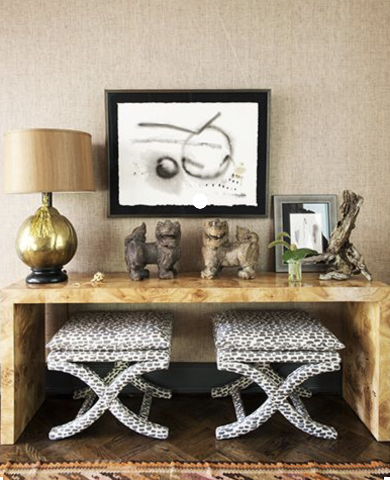 The entryway is a perfect place to use burl wood. First impressions count right?!