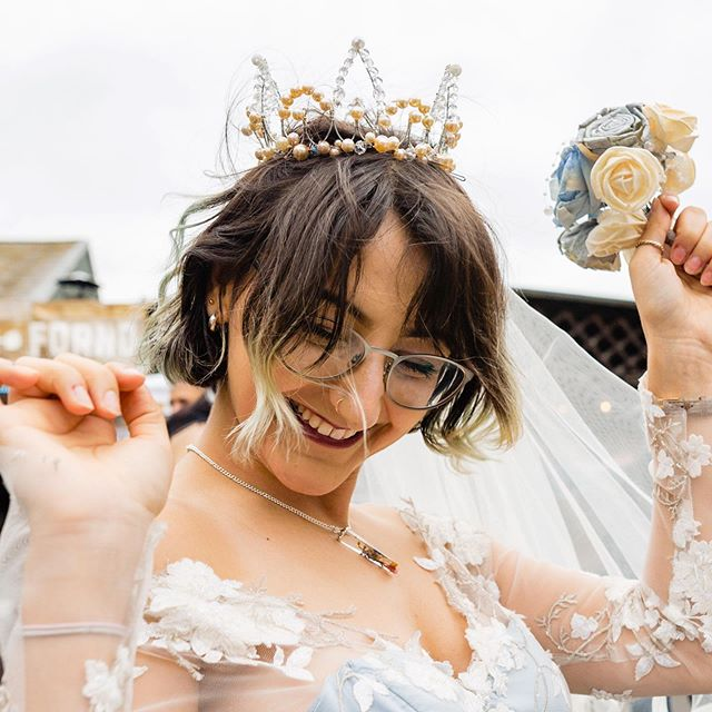 Feeling like this now I've had a peek at @emma_and_rich's photos from @allaboutewe! Totally gorgeous, thank you guys! Made to order, this pearled crown could be the perfect accessory to complete your outfit for your special day 💎  #ewe #allaboutewe #eclecticweddingextravaganza #altwedding #altbride #legendbridal #pearls #bridalcrown #weddingcrown #crown #beadedcrown #wirewrappedjewellery #princesswedding #fantasywedding #weddinginspo #tiara #fairycrown #fairytalewedding #designermaker #heytheremaker #milliner #bridalmillinery #millinerycouture #headpiece