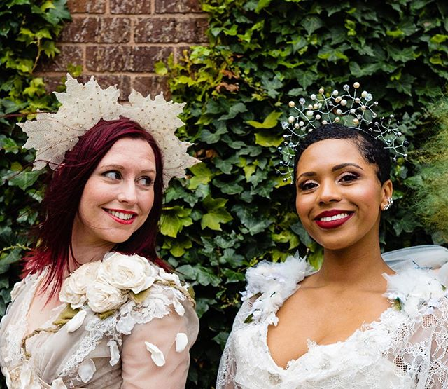 Gorgeous @kateandlenny and @paige_cowanhall brightening up this gloomy afternoon! Wearing @rosieredcorsetry and two of my bridal headpieces 💝  #allaboutewe #ewe #eclecticweddingextravaganza #headpiece #bridalheadpiece #altbride #altwedding #weddingphotography #millinery #hat #headdress #bridalcrown #bridalwear #handmade #madebyme