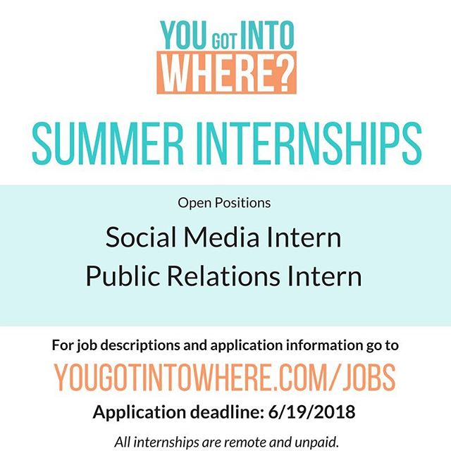 Spend this summer interning alongside YGITW founder @joiwade_ as a Public Relations or Social Media intern. This internship will provide you with exciting projects, space to be creative and pitch your own ideas and exposure to working with a startup company. The deadline is in exactly one week (6/19). If you are passionate about college admissions and digital content, you need to submit your application! More information can be found at yougotintowhere.com/jobs with the link in our bio (@yougotintowhere)👩🏾‍💻