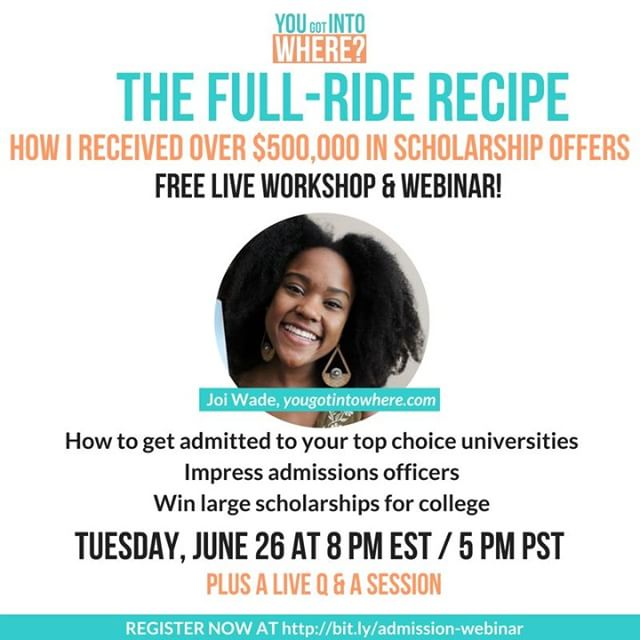 HIGH SCHOOLS STUDENTS (AND PARENTS)! On Tuesday (6/26) I will be teaching a free LIVE webinar and showing you the strategies I used to receive 3 full ride scholarships when I applied to college. If you are in 9th-11th grade you do not want to miss all of the gems I will be spilling! ⠀⠀⠀⠀⠀⠀⠀⠀⠀ In this free live training, you'll learn...⠀⠀⠀⠀⠀⠀⠀⠀⠀ ⭐️The 4 places scholarship money is waiting for you⠀⠀⠀⠀⠀⠀⠀⠀⠀ ⭐️3 resources I used to search for scholarships and colleges⠀⠀⠀⠀⠀⠀⠀⠀⠀ ⭐️The main difference between students getting full-rides and students paying full price⠀⠀⠀⠀⠀⠀⠀⠀⠀ ⭐️3 BIG mistakes parents and students make in the college admissions process⠀⠀⠀⠀⠀⠀⠀⠀⠀ ⭐️The 1 aspect of the college admissions process I believe is equally (or sometimes more) important to grades & test scores⠀⠀⠀⠀⠀⠀⠀⠀⠀ REGISTRATION LINK IS IN THE BIO.