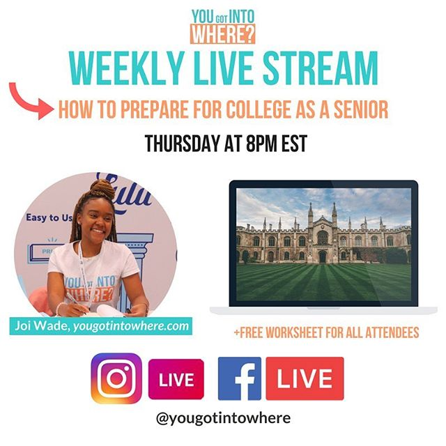 TODAY: Tune into my live stream on IG or FB to learn the keys to preparing for college during the summer, fall and spring of your senior year! We will begin at 8PM EST—come with questions. Tag someone who needs to tune in👩🏾‍🏫👇🏾
