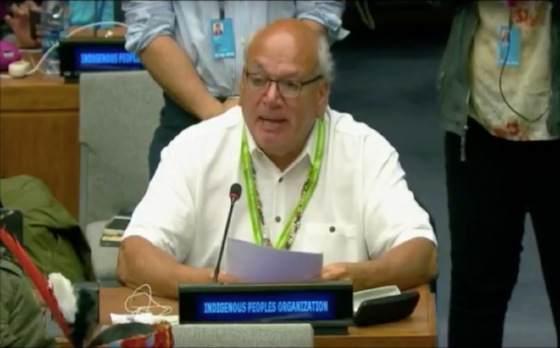 Chairman Lopez speaking at the United Nations in April. Courtesy Amah Mutsun Tribal Band.