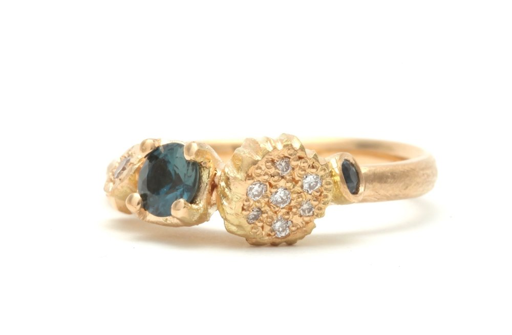 Landscape Ring in yellow gold with Australian sapphires and champagne and white diamonds - custom made through  Real Job Studios