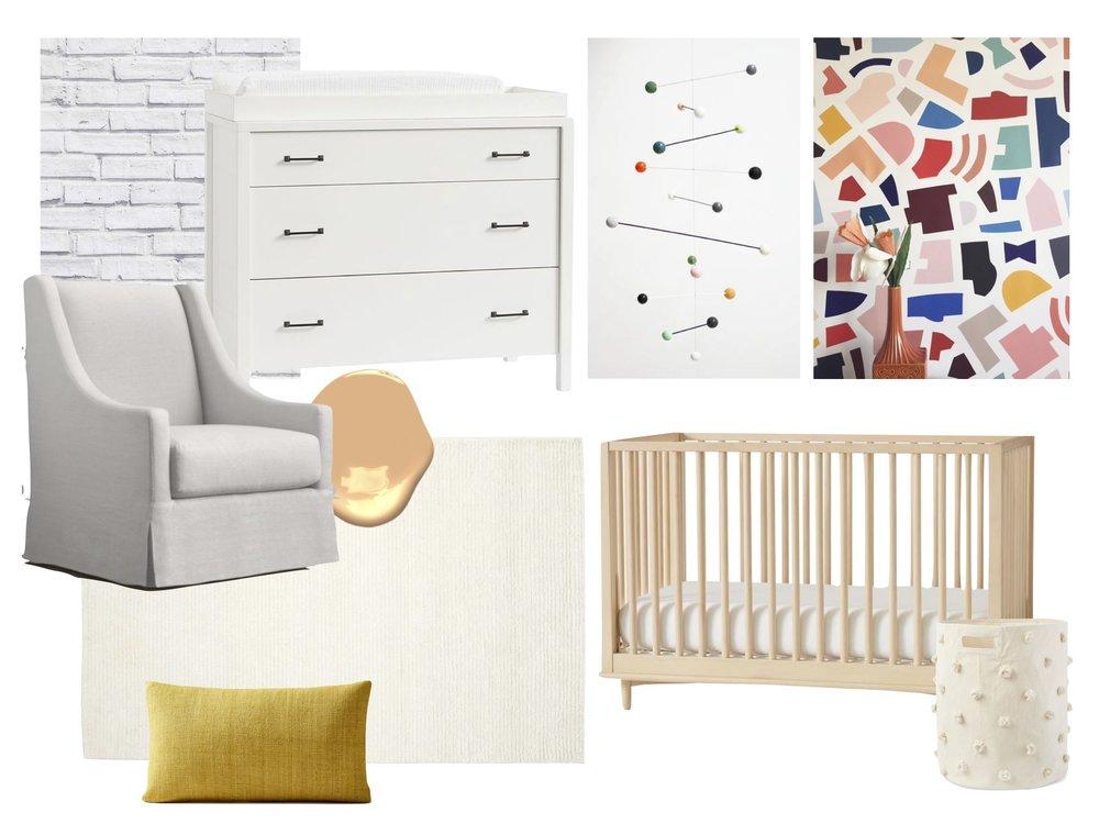 Chair  /  Dresser  /  mobile  (similar) /  wallpaper  /  crib  /  hamper  /  rug  /  pillow