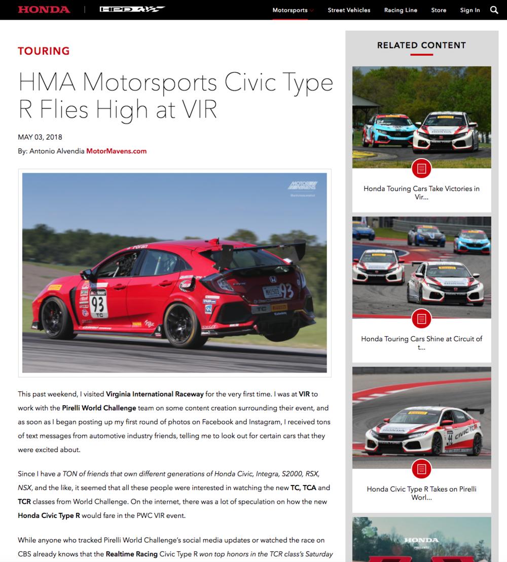 Honda Performance Development Antonio Alvendia MotorMavens