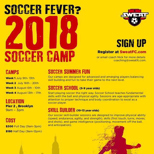 Join us this Summer 2018 for our annual SOCCER SUMMER CAMP !  Website : Sweatfc.com