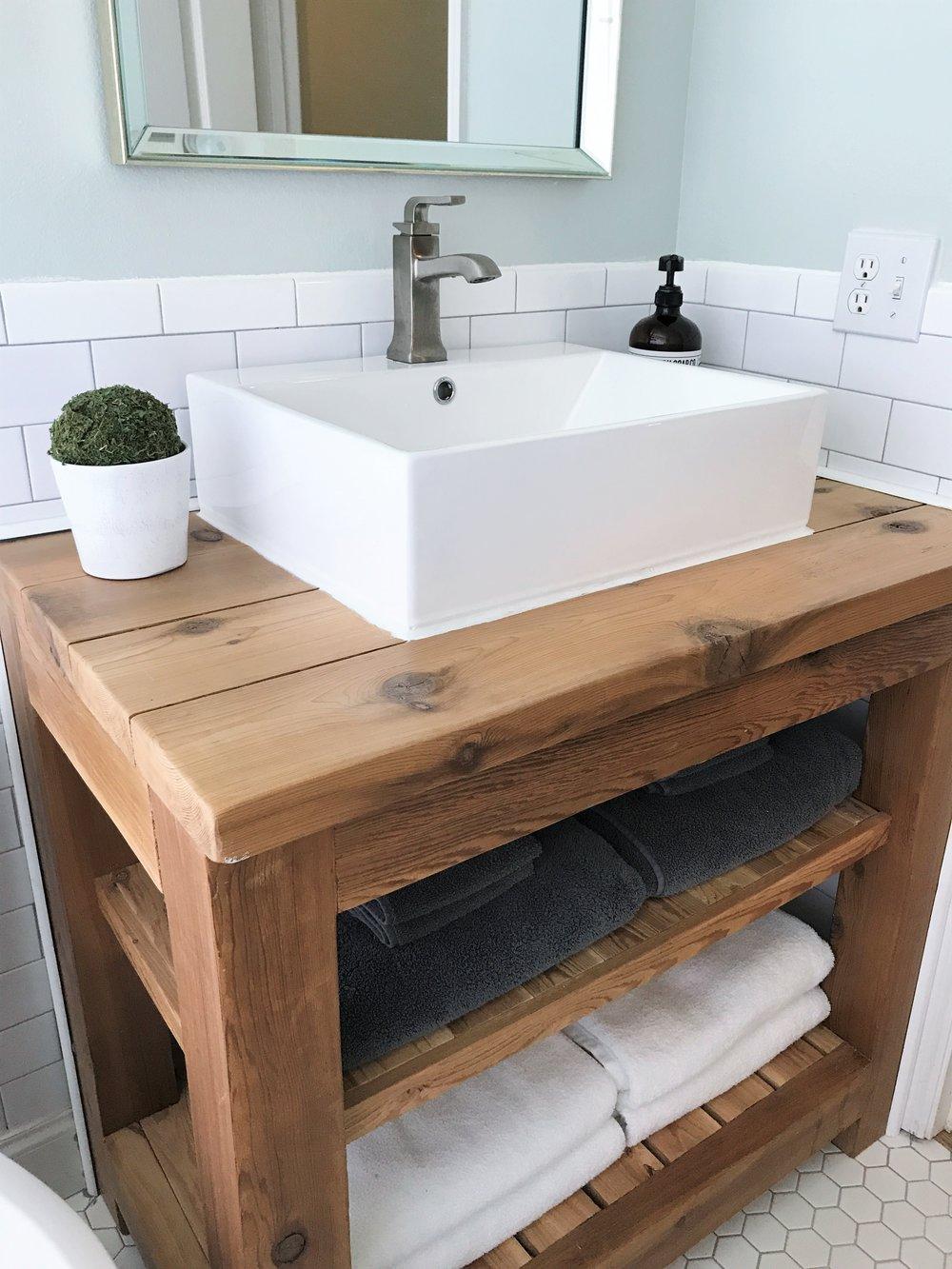 Cedar Wood Bathroom Vanity  |  Guest Bathroom Renovation - Before and After  |  This Hiatus Blog