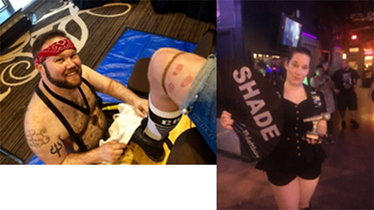 Bootblack Randal - Randal is a Puppy and Bootblack from the Great State of Texas. He is married to his partner of 11 years, Fanon. Randal was the 2018 South Central Community Bootblack and ICBB 2018 first runner up.When not moshing or at the stand he enjoys a wide variety of kinks .    Ms Fanon - Ms. Fanon came into the community via her pup/partner of 11 years. She enjoys performing for a variety of fundraisers and being at the stands watching Bootblack Randal do his thing. Ms. Fanon is the current Ms. Great Plains Olympus Leather. Ms. Fanon enjoys knife play, bondage, and boot play.