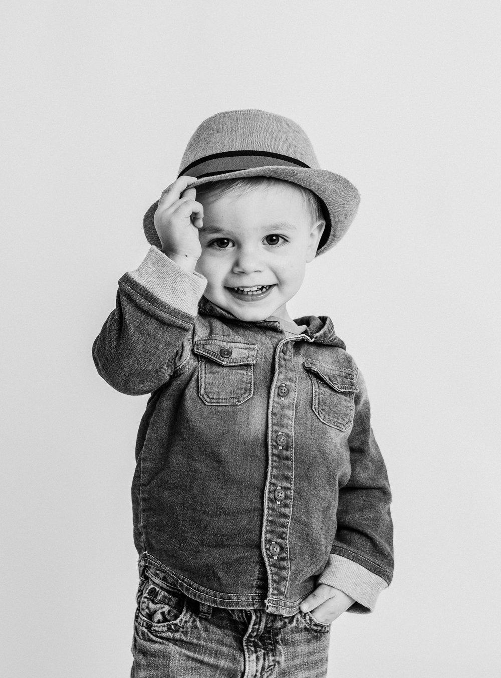 boy smiling in studio  belleville family photographer