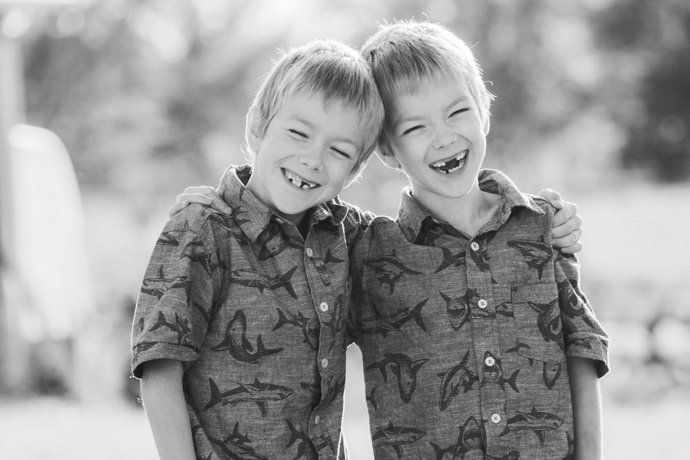 twins in field laughing  belleville family photographer