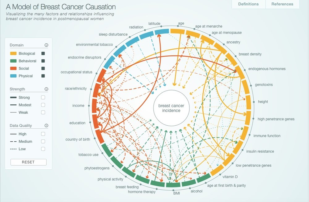 Interactive Model of Breast Cancer Causation -  http://cabreastcancer.org . The full research article was published in journal Cancer Epidemiology, Biomarkers and Prevention can be found  here .