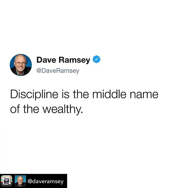 Best explanation ever!! ✨Discipline is essential to success in life, business and while investing-and the wealthy understand this concept to the fullest. ✨ Thanks for sharing, @daveramsey!!! I miss his show being on TV. I used to watch every night. After following his program to a 'T', I was debt free within 18 mos of that. Discipline was the key. 💥 Repost from @daveramsey using @RepostRegramApp - #debtfreecommunity ✨ ✨ ✨ ✨ ✨ ✨ ✨ ✨ #writersblock #authorslife #womeninspiringwomen #womenintech #bossup #trustyourinstinct #femaleempowerment #bosschicks #womenwholead #shemeansbusiness #bossmoves #femaleceo #authors #womenwhowrite #femaleentrepreneurs  #womenwhohustle #femalebusinessowner #womensupportwomen #workingwoman #businesswoman #successfulwoman #bestselling #theautomatedlife