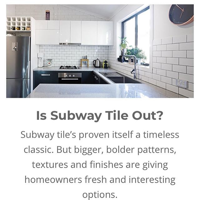 """New trends in tile are being debated and I really enjoyed this article, courtesy of homeadvisor.com @homeadvisor ✨ I'm a huge fan of subway tile and I use it when I can, but I'm also open to new trends if the """"after"""" has a classic feel to it. ✨ What are some of your favorite design trends over the years? Mine has to be hanging chairs! 🥰 I would seriously do a whole IG page dedicated to them- I'm seriously that obsessed. 🤣 Comment below with some of your favorites! ⬇️⬇️ #renovationproject ✨ ✨ ✨ ✨ ✨ ✨ ✨ ✨ 📸: @homeadvisor #freedompreneur #womeninrealestate #realestatebroker #branding101 #realestateagents #marketinglife #realestategoals #consulting #realestatemarketing #socialmediatraining #no9to5 #realestateteam #flippinghouses #attractionmarketing  #laptoplife #realestatelifestyle #attorney #lawyering #businesspartners #thinkbigger #businessmindset #marketingstrategy #leadgeneration #interiordesigninspo"""
