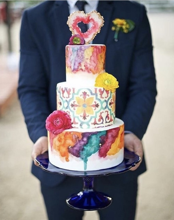 Hand painted vibrant colorful watercolor pattern design. Nicole Bakes Cakes is a Southern California boutique wedding cake designer specializing in artistic, unique, out of the box wedding cakes and desserts throughout Los Angeles, South Bay, and Long Beach.