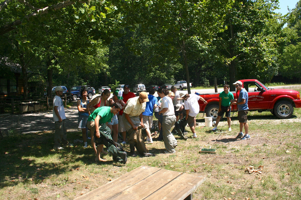 Undergraduates participating in the Tyson Olympics at the end of summer 2007