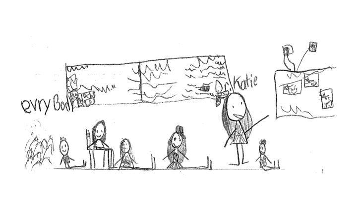 Student drawing of Dr. Katie's visit to a 2nd grade class at The Biome School.