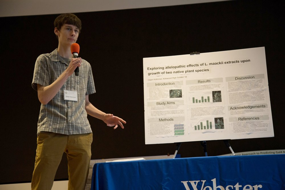 Formal presentation of Owen's research during the second round of judging. (Photo: Academy of Science-St. Louis)