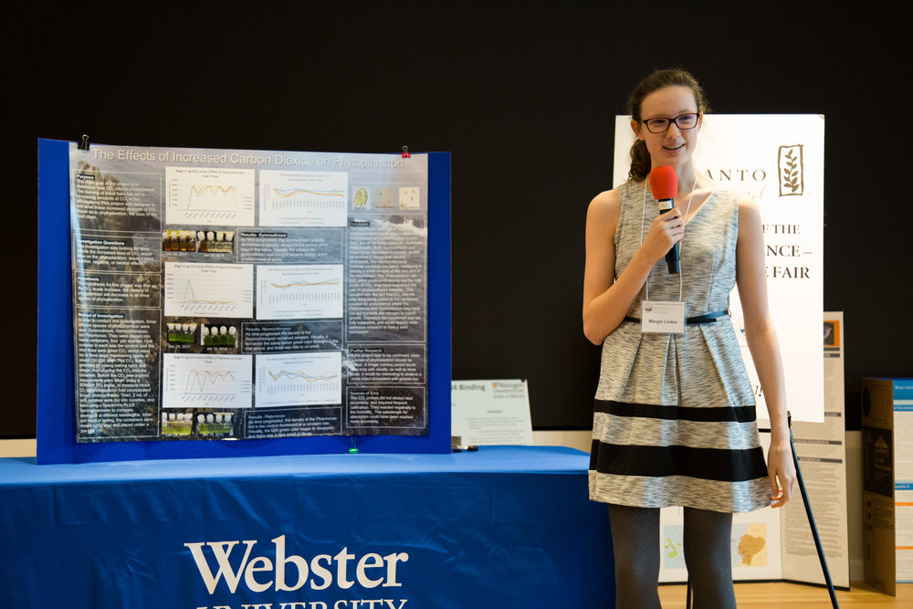 Formal presentation of Margie's research during the second round of judging. (Photo: Academy of Science-St. Louis)