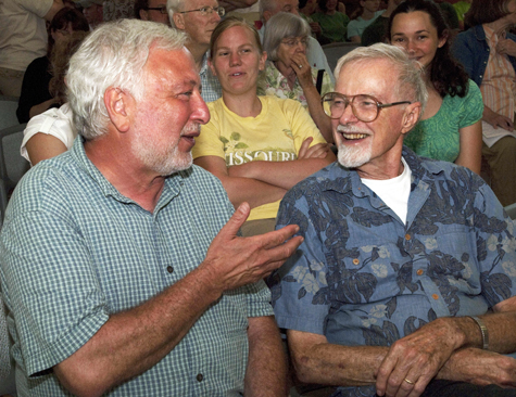 Alan Covich, PhD, BA '64 (left) and Owen Sexton, PhD (right) during a tribute to Dr. Sexton held at Tyson Research Center in 2010.