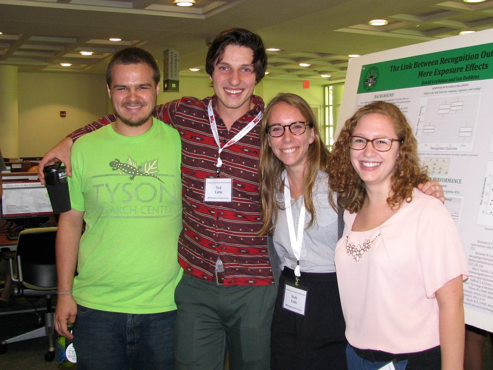 Tyson undergraduate fellows supporting their peers at the WashU Undergraduate Research Symposium in October 2015