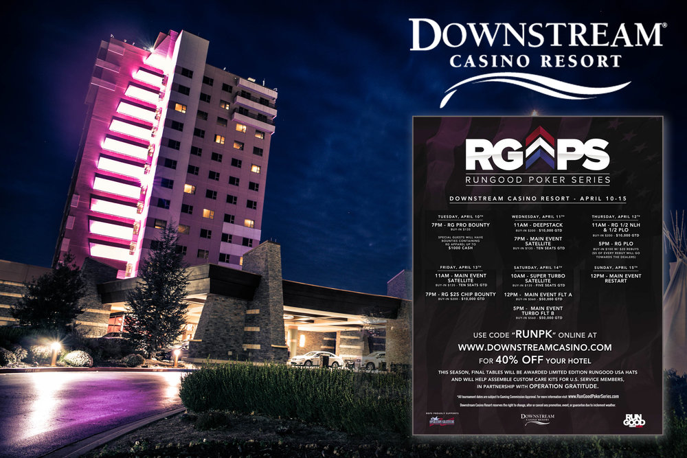 This graphic was used to promote the RunGood Poker Series stop at Downstream Casino in Joplin, Missouri for the spring 2018 season.