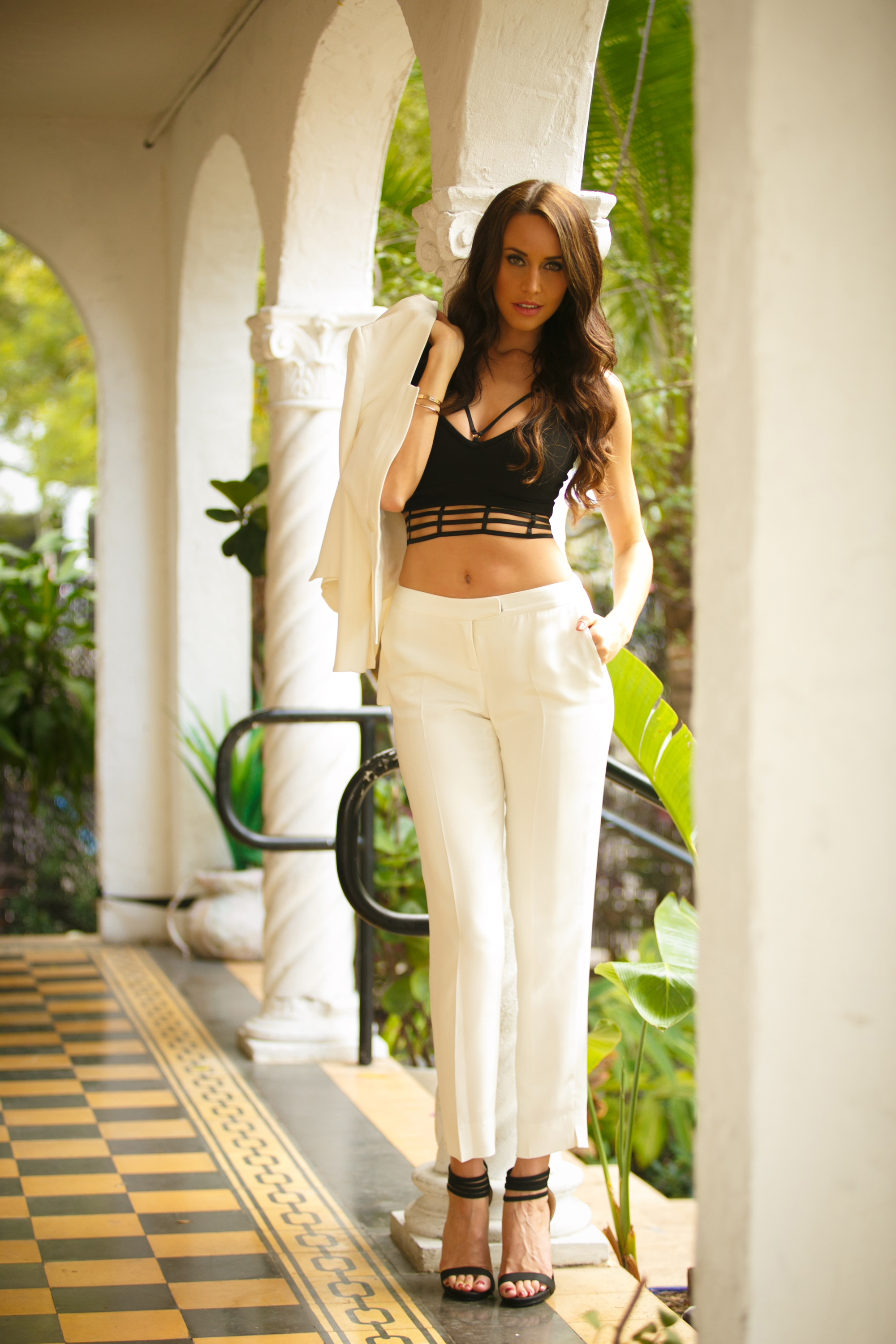 Kora Rae Sting Rae Jacket & Pants,  Premonition Bralette Top,  Shoe Republic LA Heels