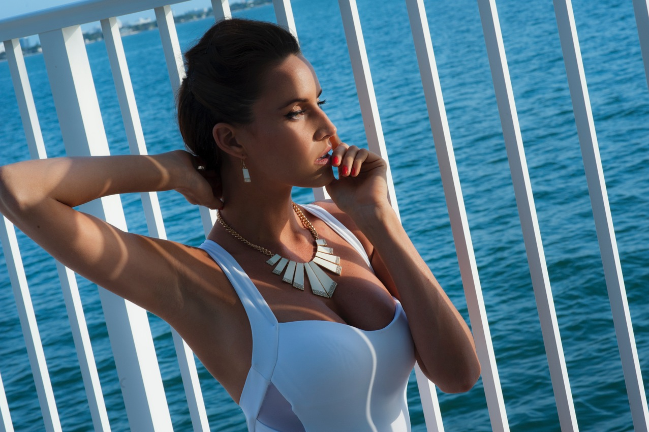 Swimsuit - Jets Necklace and Earrings - Jessica Rich