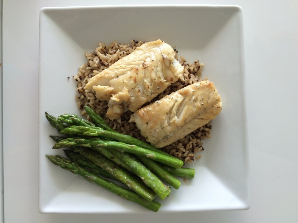Dinner - grilled fish with brown rice, quinoa and asparagus.