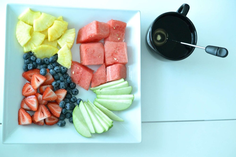 Breakfast - fresh fruit platter and detox tea