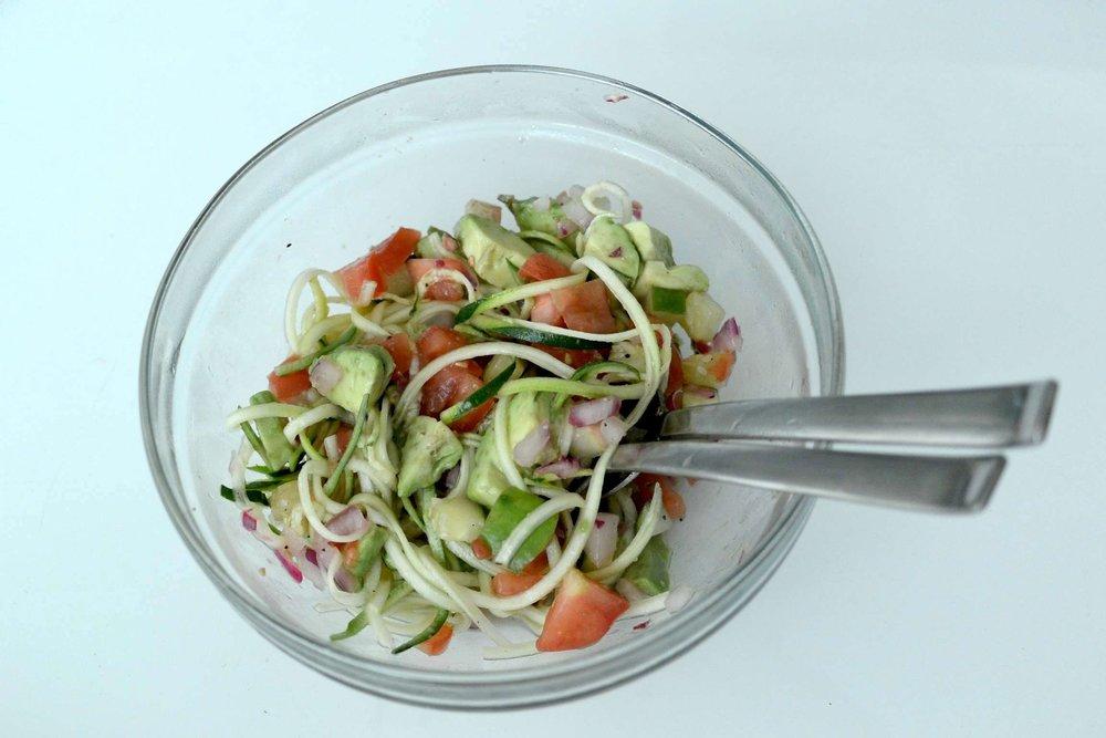 Fresh zucchini noodle salad