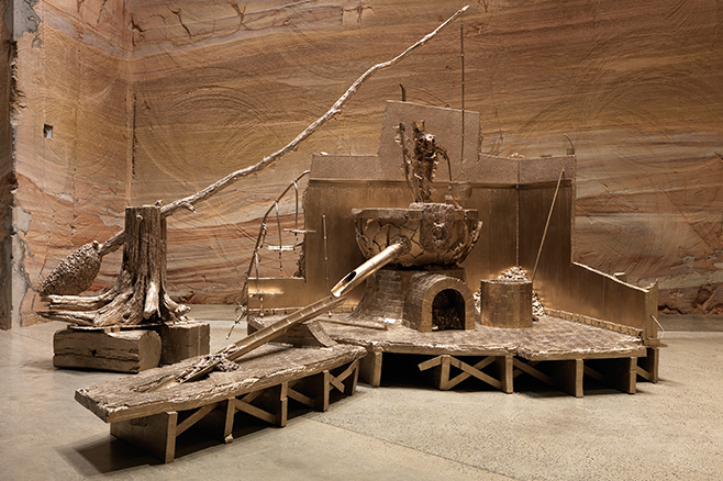 Matthew Barney, Shaduf, 2014, cast brass, 144 x 120 x 180 in., courtesy of the artist and Gladstone Gallery, New York and Brussels, installation view of Matthew Barney: RIVER OF FUNDAMENT at Museum of Old and New Art (MONA), 2014-15, photo by Rémi Chauvin/MONA
