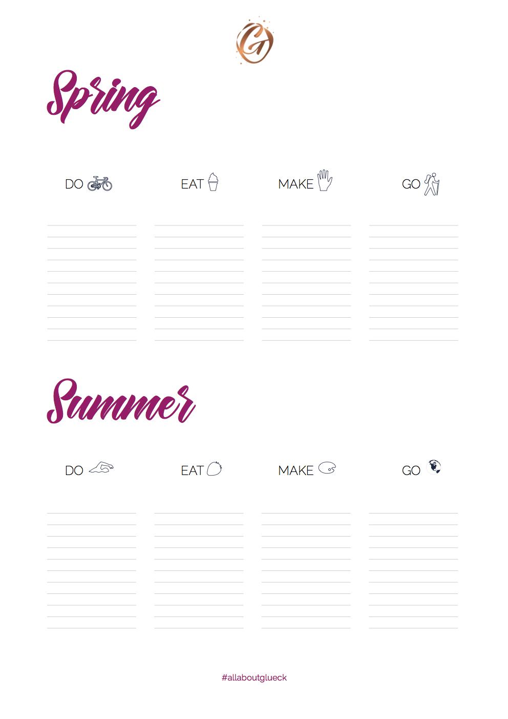 Bucket List Sheet