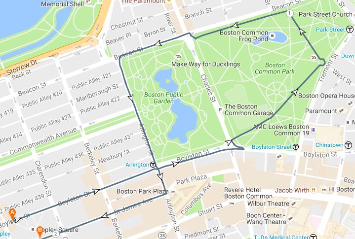 Route Winter Walk Boston - Boston common map