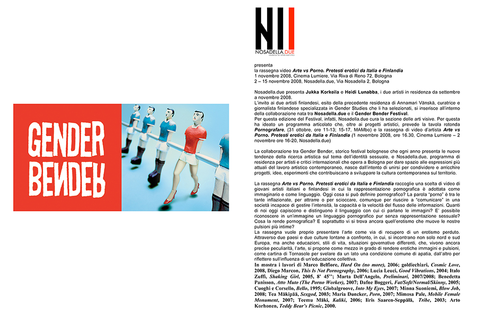 Atto Muto at Gender Bender | curated by Nosadella Due and Elisa del Prete | Bologna | 2008