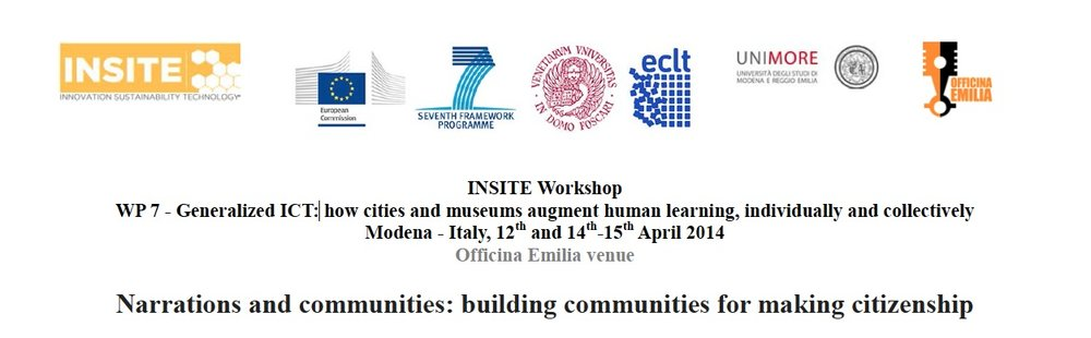 "Come to Venice is a case study at the European Workshop Narrations and communities, bulding communities for making citizenship, organize by INSITE, Porf. Margherita Russo, and Valentina Anzoise, at Officine Emilia, Modena University, 2014. INSITE is an EU Coordination Acttion whose goal is fostering the dialogue between researchers and practitioners on ""How to build a sustainable society, environmentally sustainable and socially responsable"".  Benedetta Panisson talked about: making a message ambigous, deformation and information, emotional structures in an artistic approach/scientific approach, the importance of minority greoups in a community, the performative aspect of hooded people in the ""visibility era"", sadian mechanism in Venice. Amerigo Nutolo talked about the first reaction of pleople living in Venice in front of the documentary, a family photobook that you prefer to keep in a closet even if you love every single image of it.   http://www.insiteproject.org/wp-content/uploads/2014/03/WorkshopINSITE_Modena_12-14-15April_final.pdf"