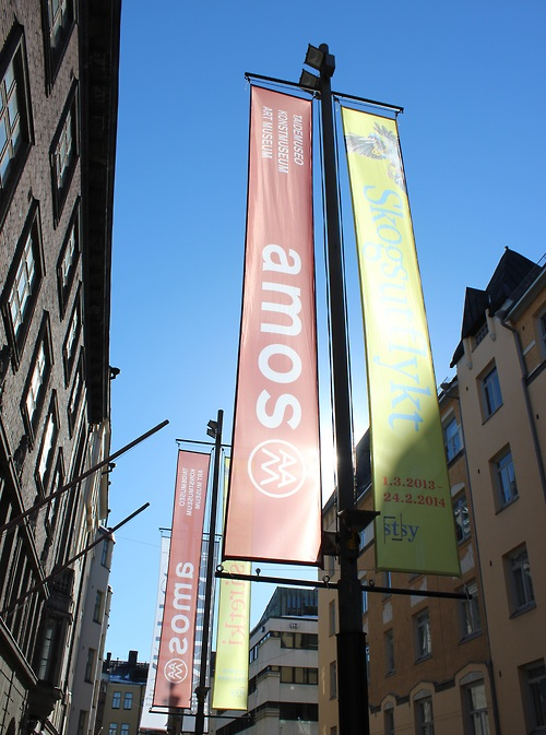 Banners on Yrjönkatu. I had to crop the bottom because pedestrians are ugleh.