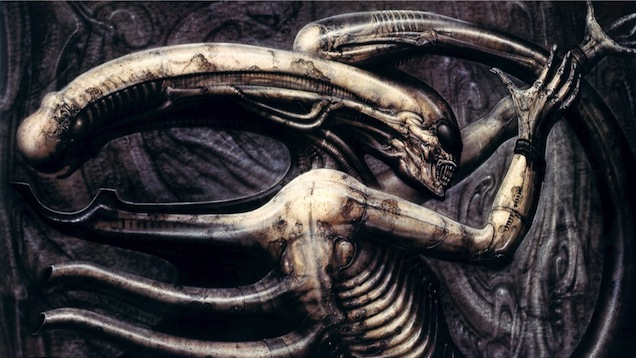 "Giger's ""Necronom IV"" (1976), which would later inspire the creature designs in Alien."