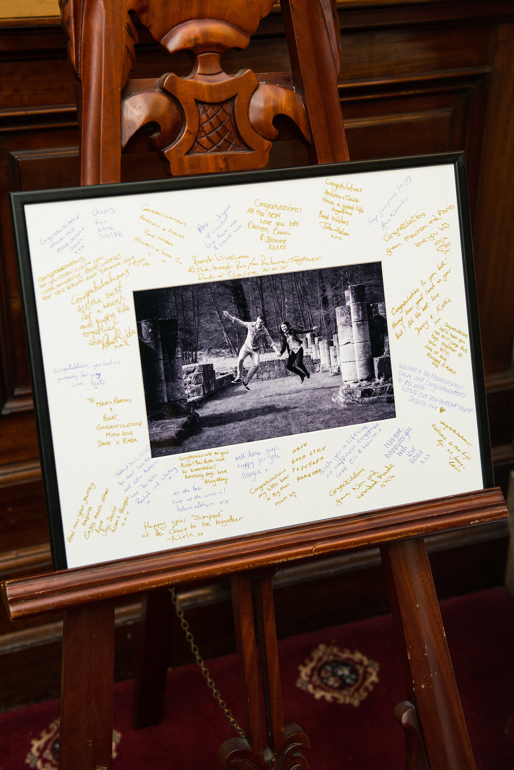 Framed signature mount complete with guests' signatures