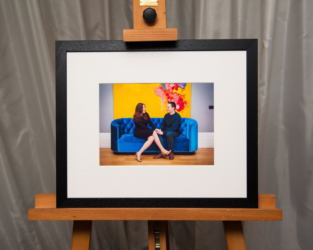 The newer style framed signature mount, on display at the wedding reception