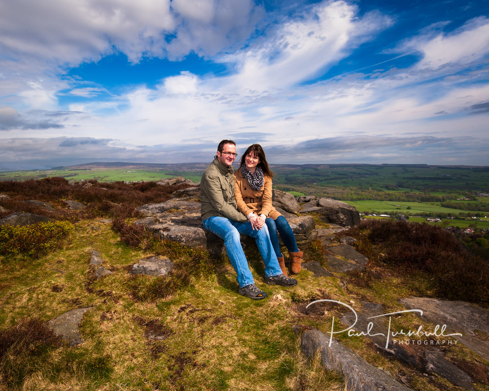 Pre-wedding engagement shoot on beautifully picturesque Ilkley Moor