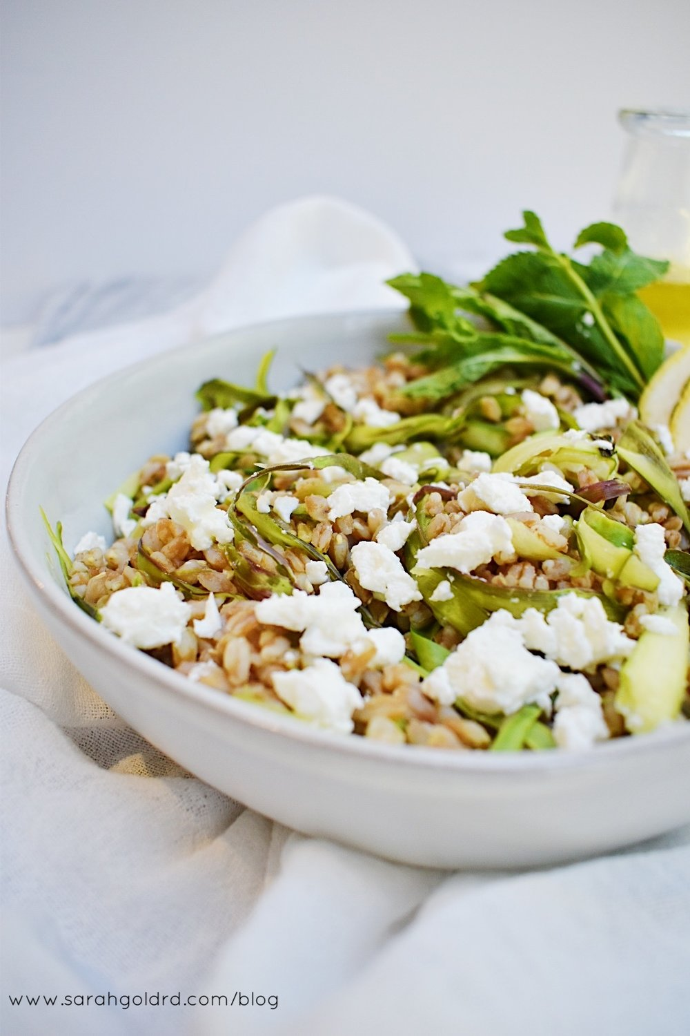 Lemony Asparagus and Farro Salad with Feta