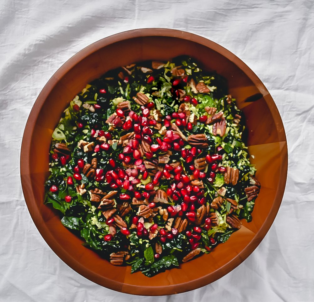 kale pomegranate Brussels sprout salad.
