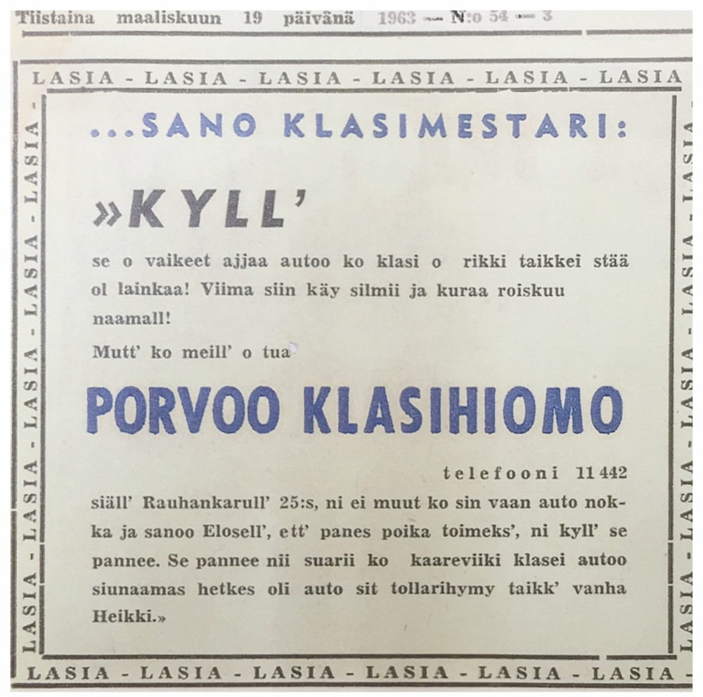 Local newspaper ad by Borgå Glassliperi from year 1963.