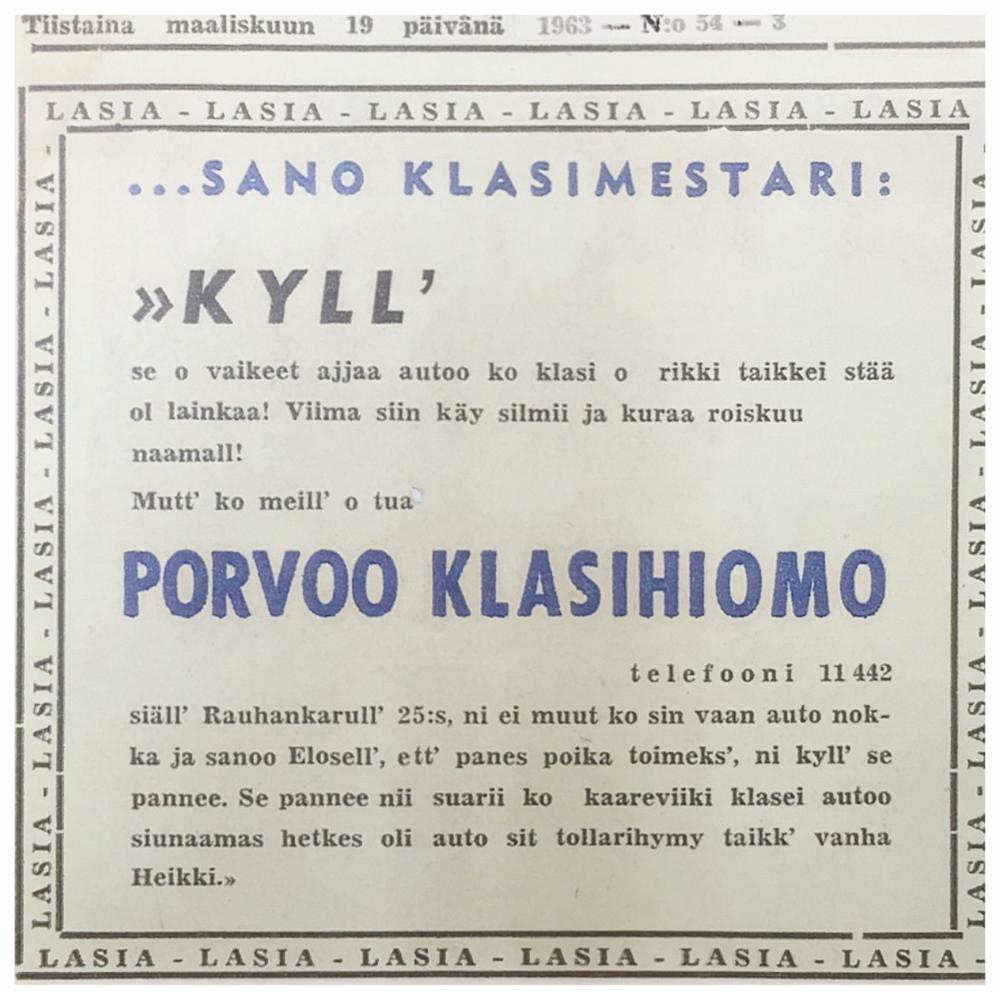 ….Porvoon Lasihiemon mainos paikallislehdessä vuodelta 1963. ..Borgå Glassliperiets annons i lokaltidningen från år 1963. ….