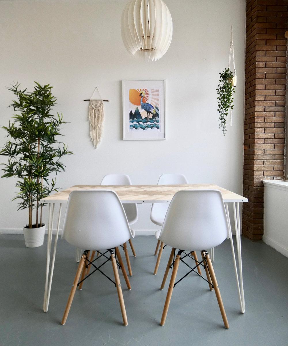 OAK HERRINGBONE DINING TABLES -