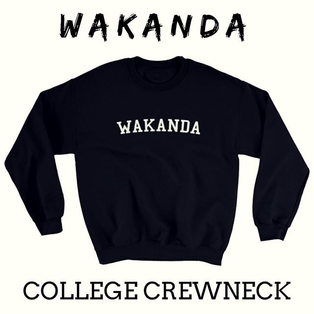 "Just in time for biggest movie of the year!  Grab your Black Panther inspired ""Wakanda College"" Crewnecks and more merch from the #spacesphilly store! https://tinyurl.com/SpacesStore - - - - - - - -  #wakanda #phillypodcast  #philly #phillysupportphilly #instablack #popculture  #podernfamily #podcasters  #podsincolor #listen #spaces #chadwickboseman #streetwearbrand  #marvel #movies #blackpanther #mcu  #blacklightning #blerd #wakandaforever"