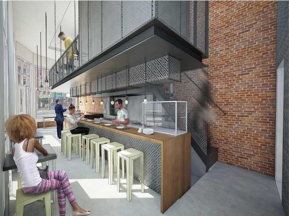 artist impression of the café and the extra floor