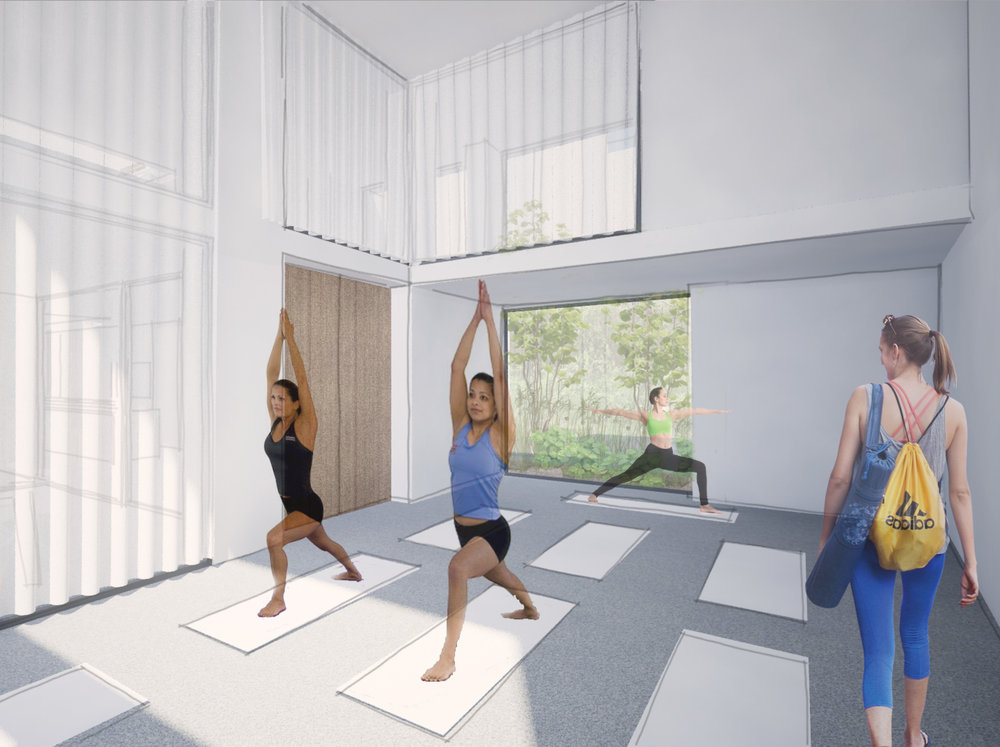 impression of the multifunctional space in use as yoga studio